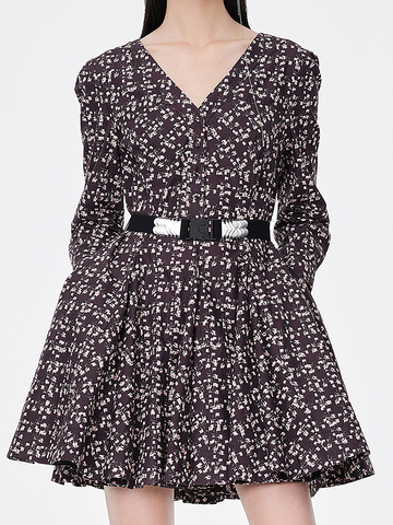 V-Neck Belted Print One-Piece