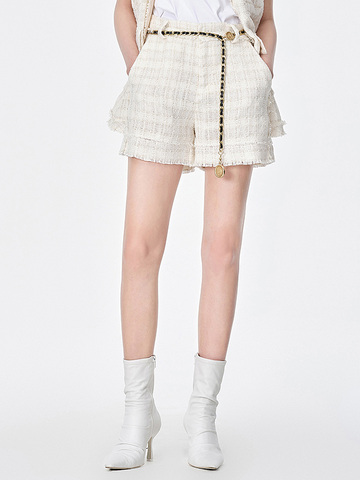 Coin Motif Belted Summer-Tweed Short Pants