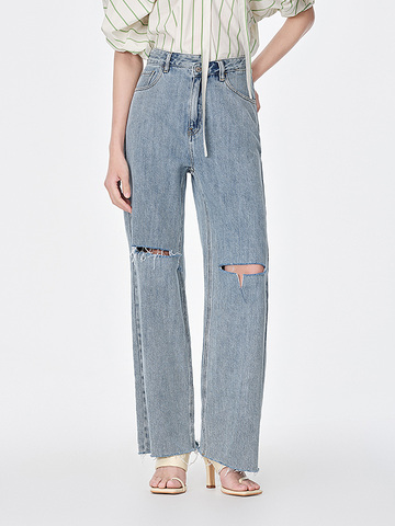 Knee Slit Damage Denim Pants