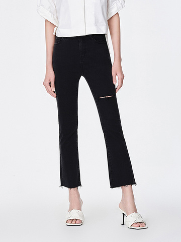 Short Length Bell-Bottoms Black Denim Pants
