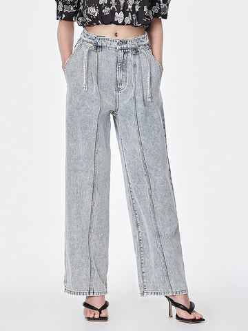 Side Belted Denim Pants