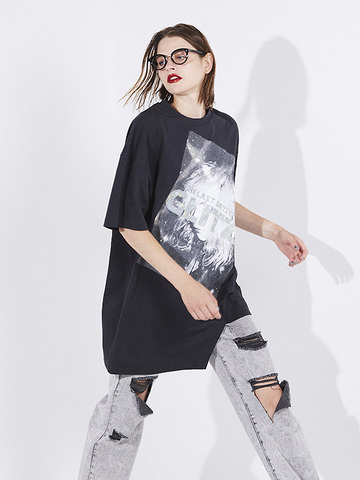 Asymmetry Print T-shirt
