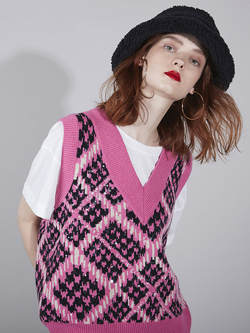 Houndstooth Rhombus Knit Vest