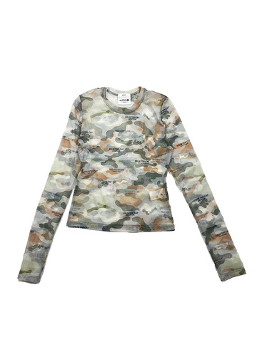 Camouflage See-Through Top