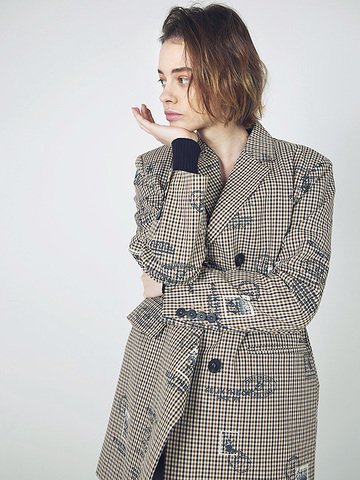 Checkered Print Coat