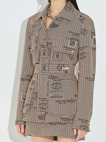 Checkered Print Safari Jacket