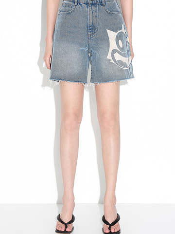 Printed Bleach Denim Short Pants