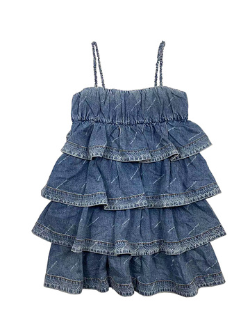 Letter Printed Frill Gather Denim One-Piece