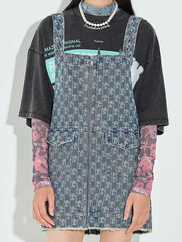 Printed Denim Overall