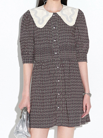 Design Collar Pattern One-Piece