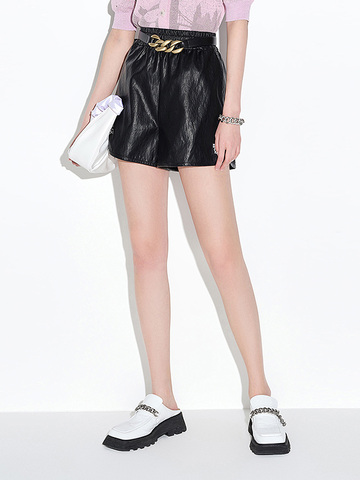 Sporty Fake Leather Short Pants