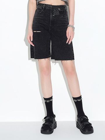 Damaged Black Denim Half Pants