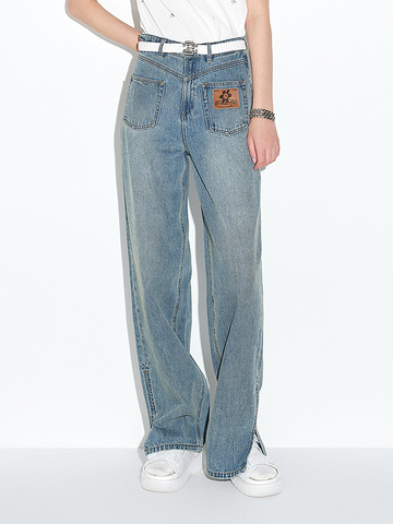 Front Patch Denim Pants