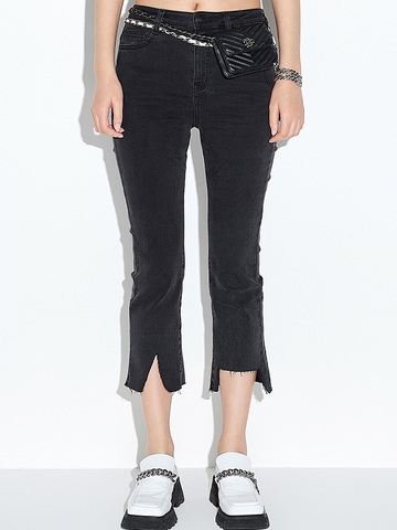 Hem Damaged Black Denim