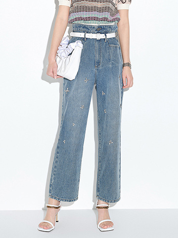 High Waist Bijoux Denim Pants