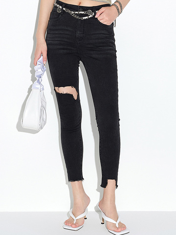 Damaged Black Skinny Denim Pants