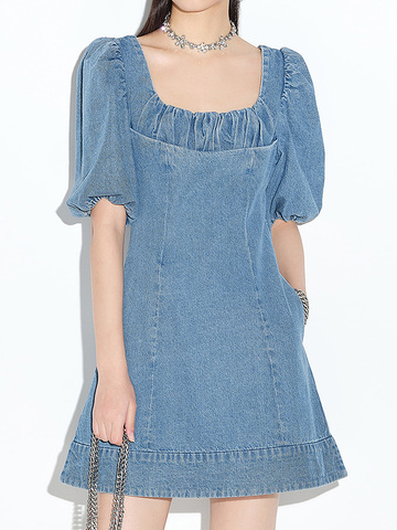 Puff Sleeve Denim One-Piece