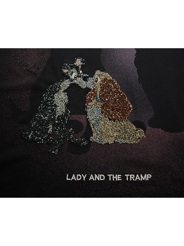 Sequins & Printed & Embroidery T-shirt (Lady & the Tramp)