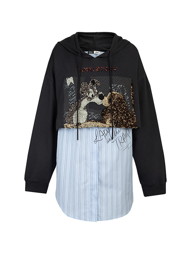 Sequins Design Shirt Combination Hoodie (Lady & the Tramp)