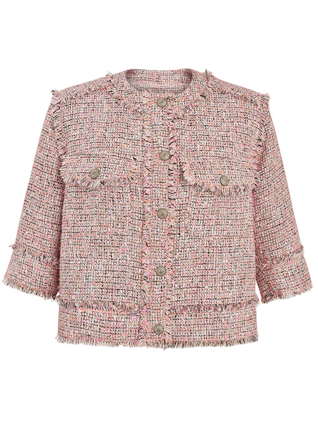 Tweed No-Collar Jacket