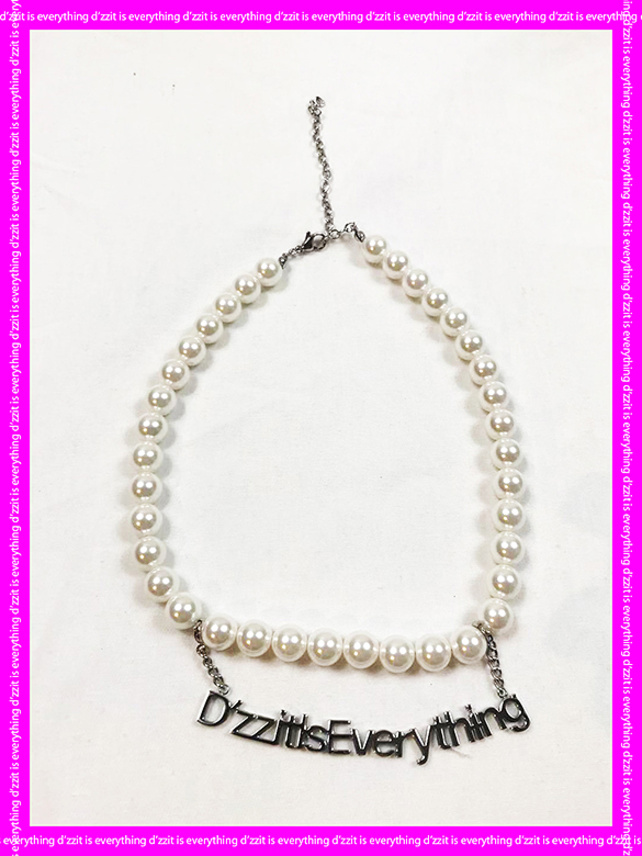 Logo Charm Pearl Necklace