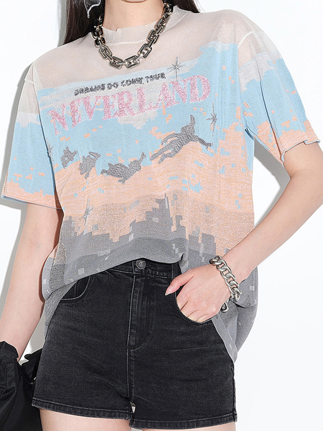 Sequins Graphic Knit Top